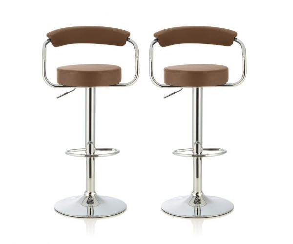 Serene Furnishings Calla Cappuccino Faux Leather Bar Stool in Pair