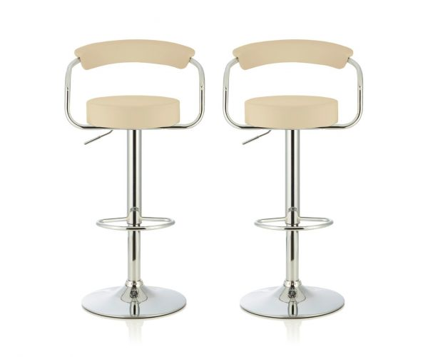 Serene Furnishings Calla Cream Faux Leather Bar Stool in Pair