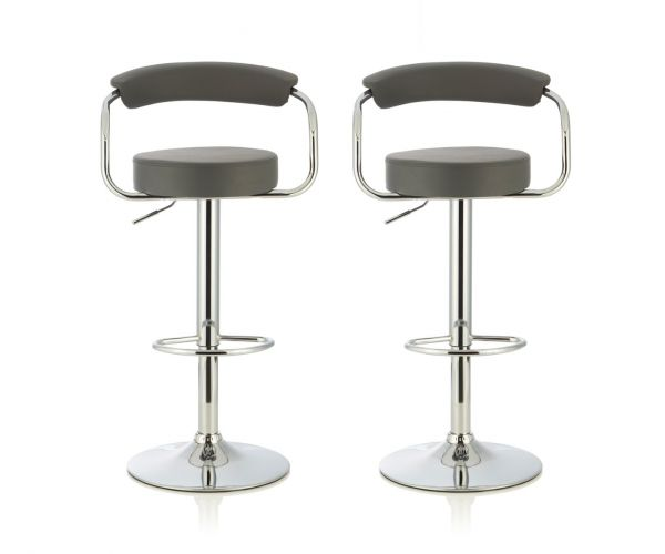 Serene Furnishings Calla Grey Faux Leather Bar Stool in Pair