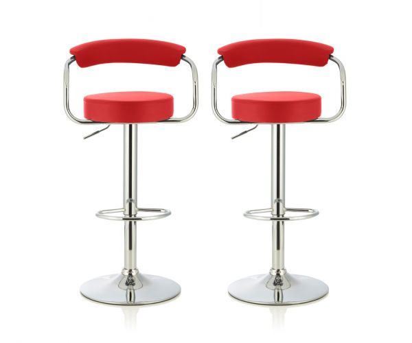 Serene Furnishings Calla Red Faux Leather Bar Stool in Pair
