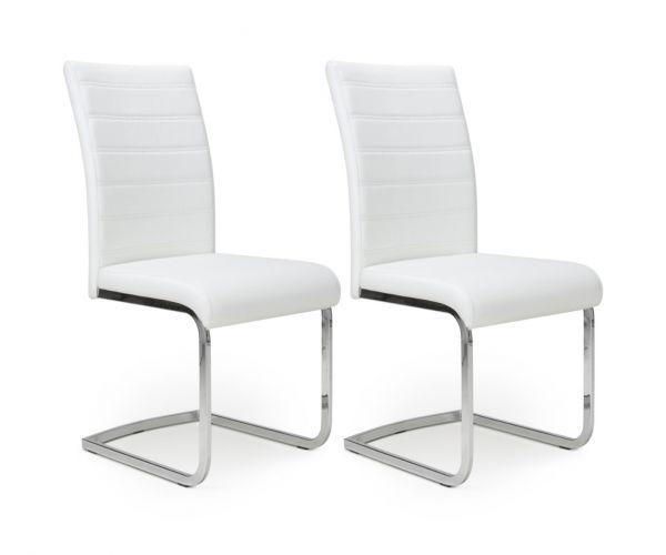 Shankar Callisto White Leather Effect Dining Chair in Pair