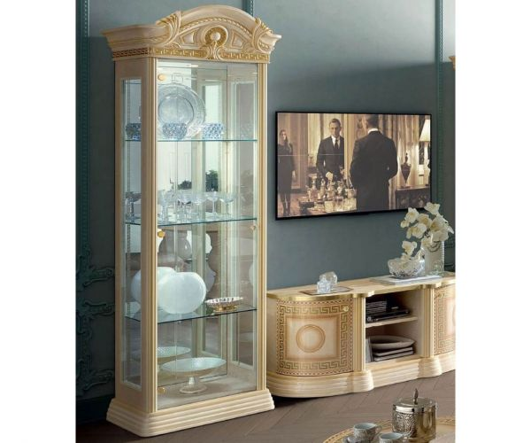 Camel Group Aida Ivory and Gold 1 Door Display Cabinet