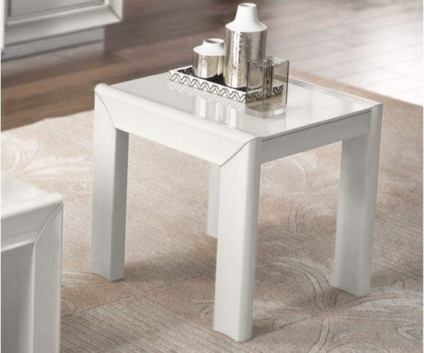Camel Group Dama Binaca White High Gloss Square Lamp Table