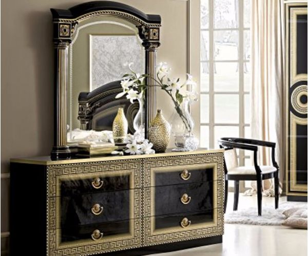 Camel Group Aida Black and Gold Finish 6 Drawer Double Dresser