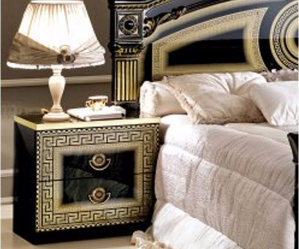 Camel Group Aida Black and Gold Finish 2 Drawer Night Table