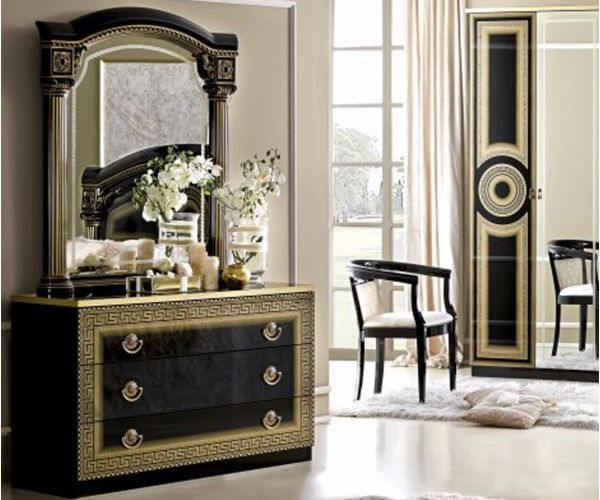 Camel Group Aida Black and Gold Finish 3 Drawer Single Dresser