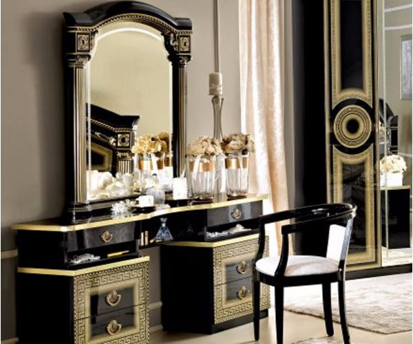 Camel Group Aida Black and Gold Finish Vanity Dresser