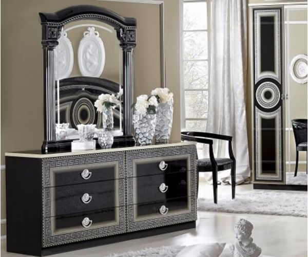 Camel Group Aida Black and Silver Finish 6 Drawer Double Dresser