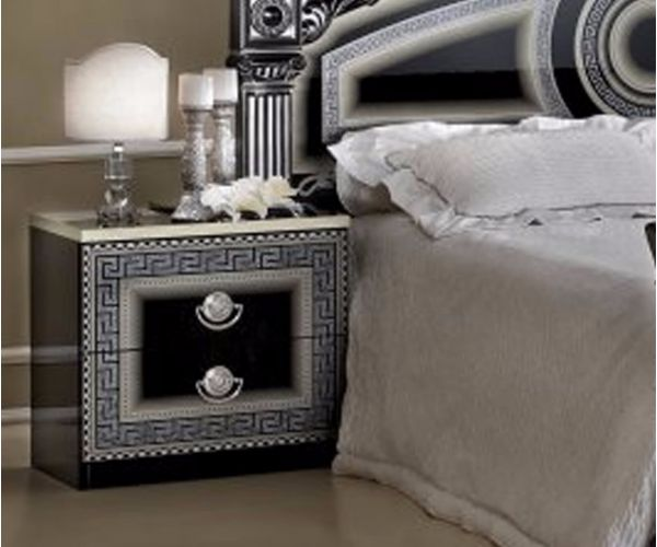 Camel Group Aida Black and Silver Finish 2 Drawer Night Table