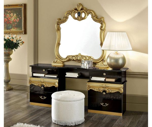 Camel Group Barocco Black and Gold Finish Vanity Dresser