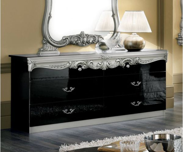 Camel Group Barocco Black and Silver Finish Double Dresser