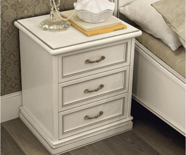 Camel Group Nostalgia Antique White 3 Drawer Bedside Table