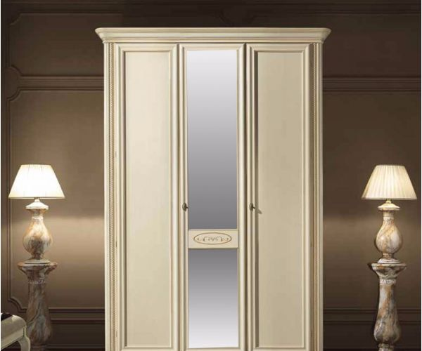 Camel Group Siena Ivory Finish 3 Door Mirror Wardrobe