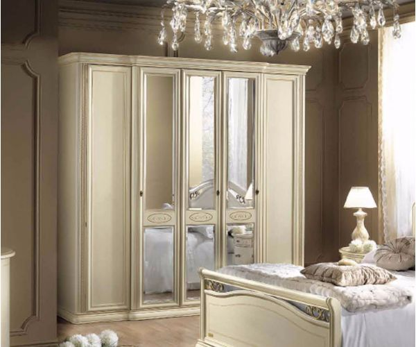 Camel Group Siena Ivory Finish 5 Door Mirror Wardrobe