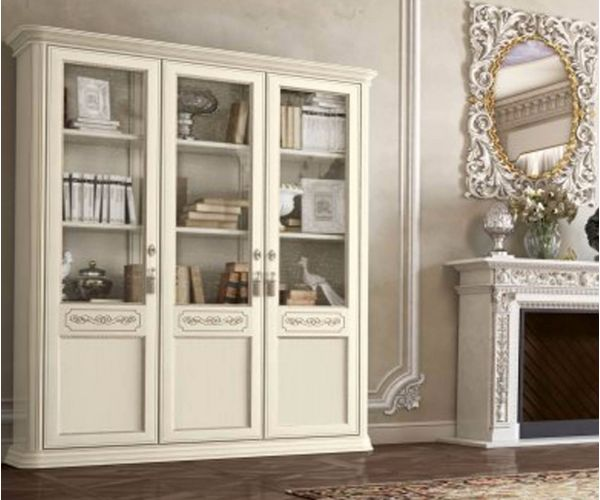 Camel Group Torriani Ivory Finish 3 Wooden Door Bookcase