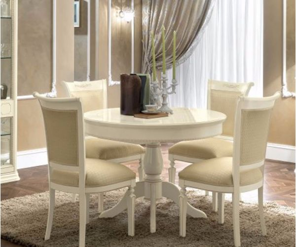 Camel Group Torriani Ivory Finish Round Extension Dining Table