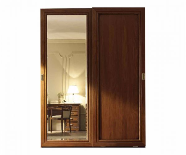 Camel Group Torriani Walnut Finish 2 Door Sliding Wardrobe with Mirror