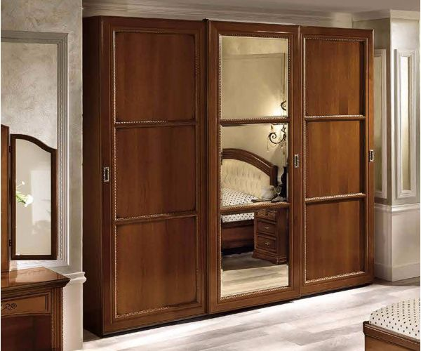Camel Group Torriani Walnut Finish 3 Door Sliding Wardrobe with Mirror