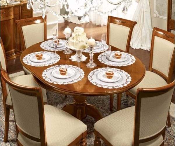 Camel Group Torriani Walnut Finish Round Extension Dining Table