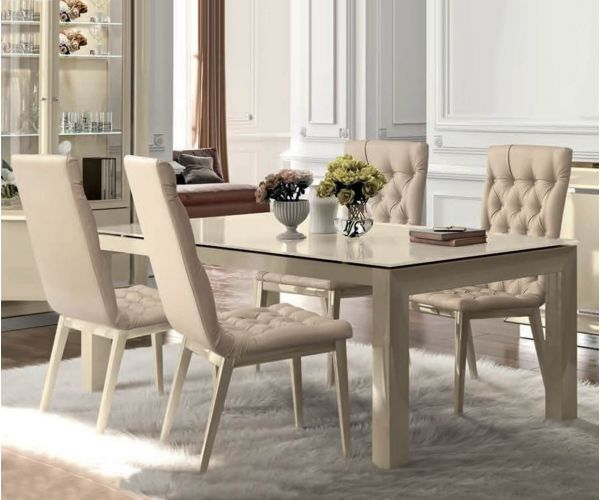 Camel Group La Star Ivory High Gloss Large Extension Dining Table with 6 Chairs