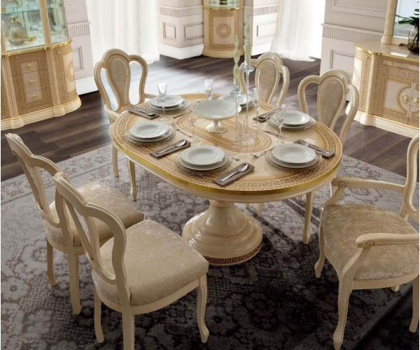 Camel Group Aida Ivory and Gold Round Extension Dining Table with 6 Michelangelo Chairs