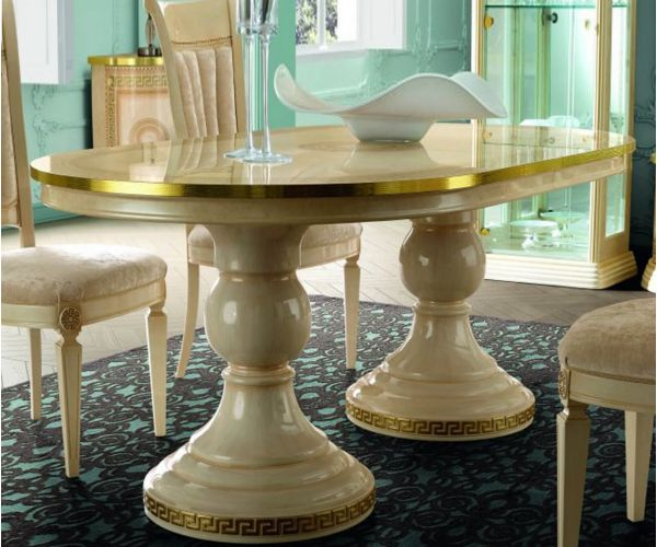 Camel Group Aida Ivory and Gold Oval Extension Dining Table