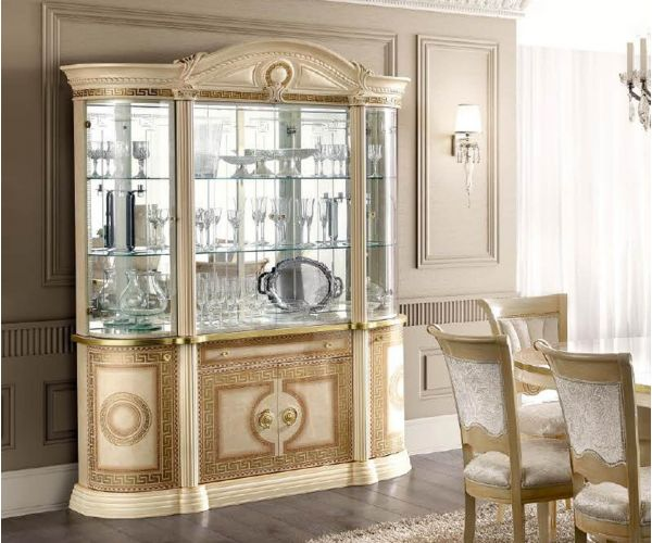 Camel Group Aida Ivory and Gold 4 Door Display Cabinet