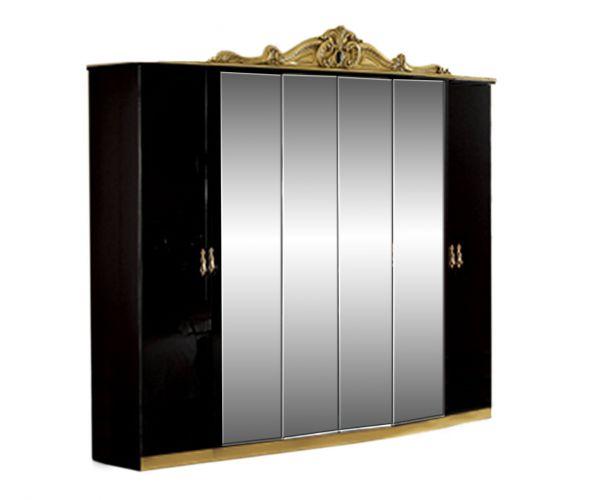 Camel Group Barocco Black and Gold Finish 6 Door Wardrobe