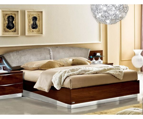 Camel Group Onda Walnut High Gloss Upholstered Bed Frame