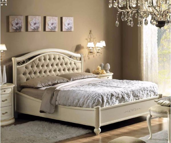 Camel Group Siena Ivory Finish Capitonne Bed Frame