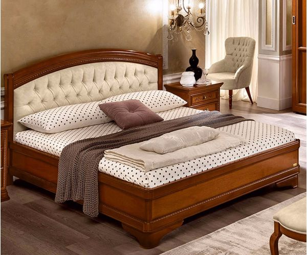 Camel Group Torriani Walnut Finish Upholstered Bed Frame