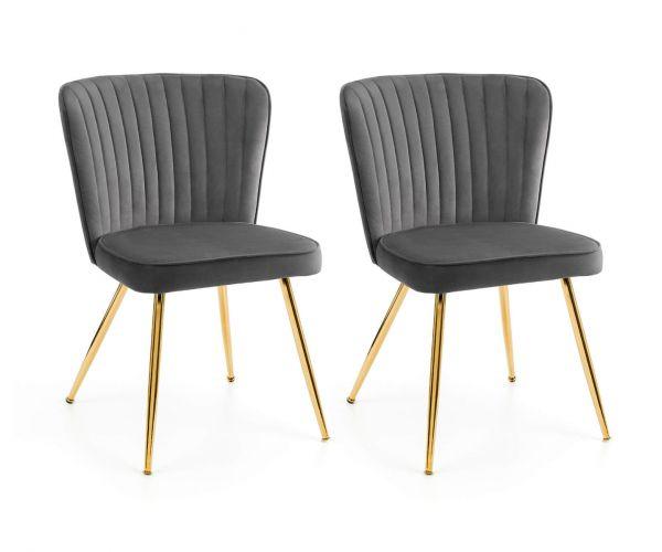 Julian Bowen Cannes Grey Fabric Chair in Pair