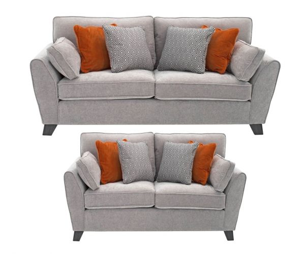 Vida Living Cantrell Silver Fabric 3+2 Sofa Set
