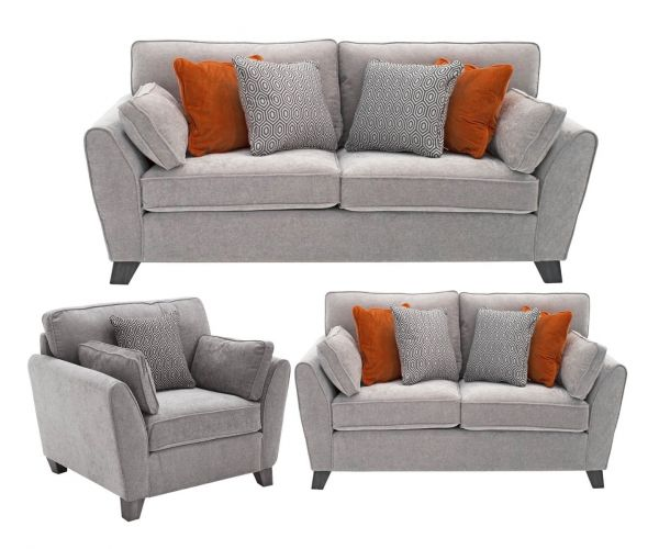 Vida Living Cantrell Silver Fabric 3+2+1 Sofa Set