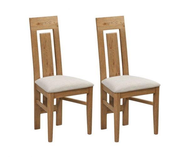 Annaghmore Capri Rustic Oak High Back Dining Chair in Pair