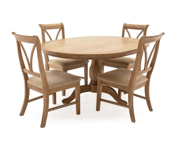 Vida Living Carmen Oak Fixed Oval Dining Table with 4 Chairs