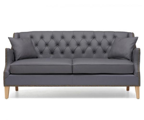 Mark Harris Carmen Grey Leather 3 Seater Sofa