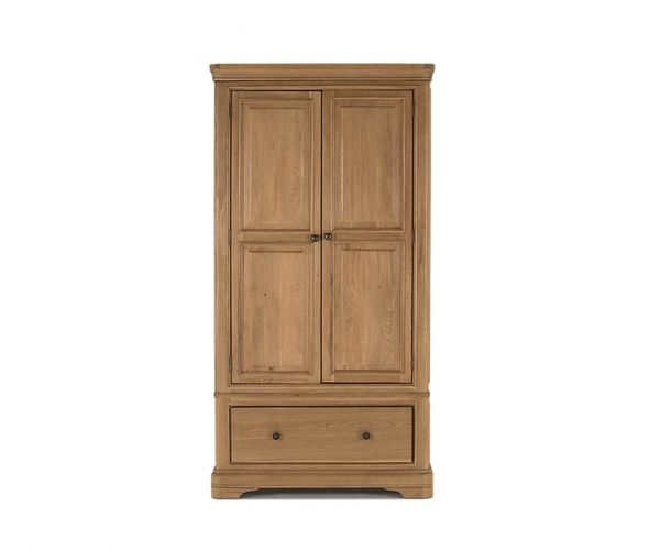 Vida Living Carmen Oak 2 Door 1 Drawer Wardrobe