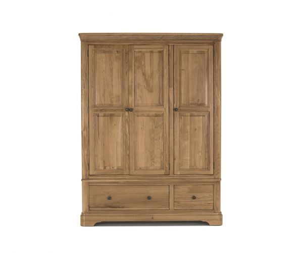 Vida Living Carmen Oak 3 Door 2 Drawer Wardrobe