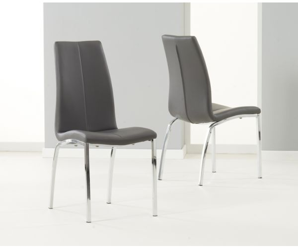 Mark Harris Carsen Grey PU Leather Dining Chair in Pair
