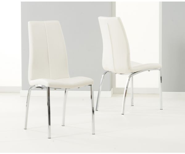 Mark Harris Carsen Ivory PU Leather Dining Chair in Pair