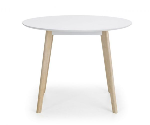 Julian Bowen Casa White and Oak Round Dining Table Only