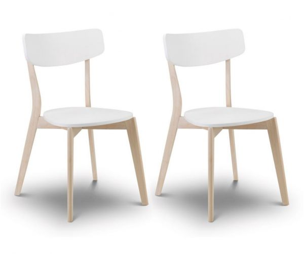 Julian Bowen Casa White and Oak Dining Chair in Pair