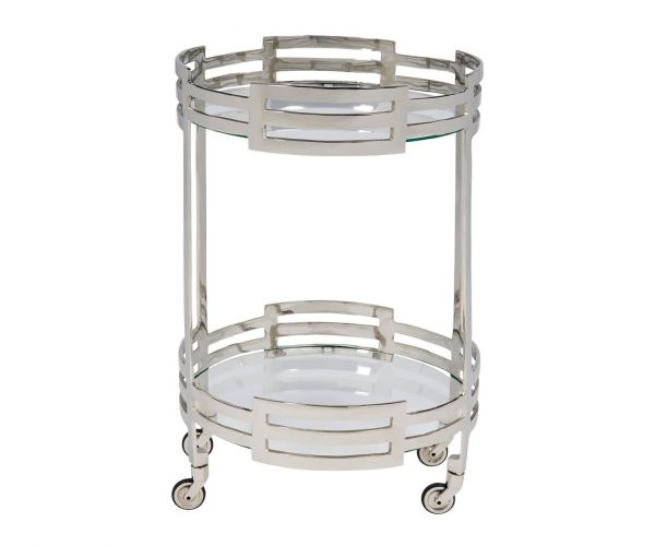 Serene Furnishings Chapra Clear Tempered Glass and Nickel Drinks Trolley