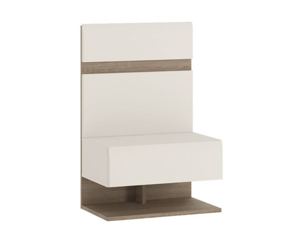FTG Chelsea White Bedroom Bedside Extension for Bed with Truffle Oak Trim