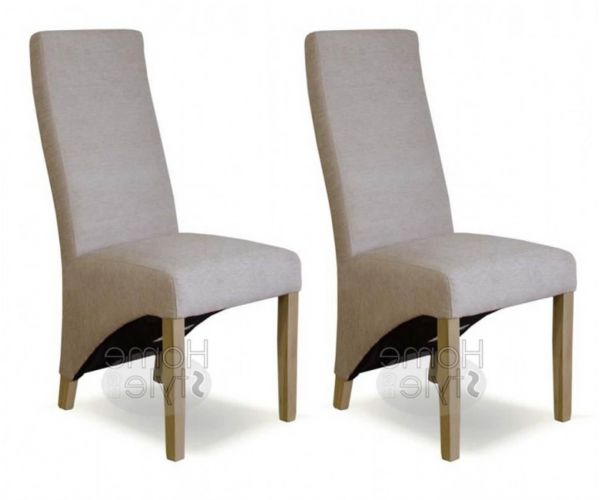 Homestyle GB Wave Beige Chenille Fabric Dining Chair in Pair