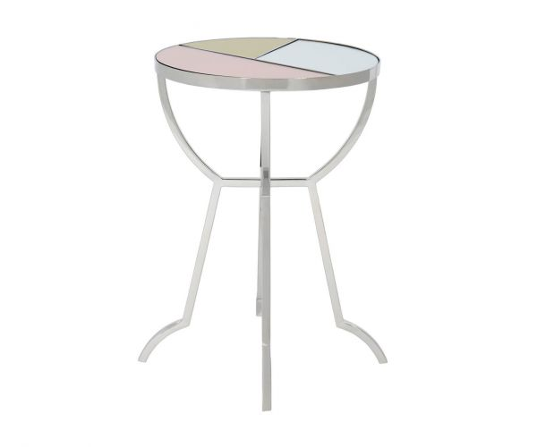 Serene Furnishings Chennai Multicolour Mirror Top and Nickel Round Lamp Table