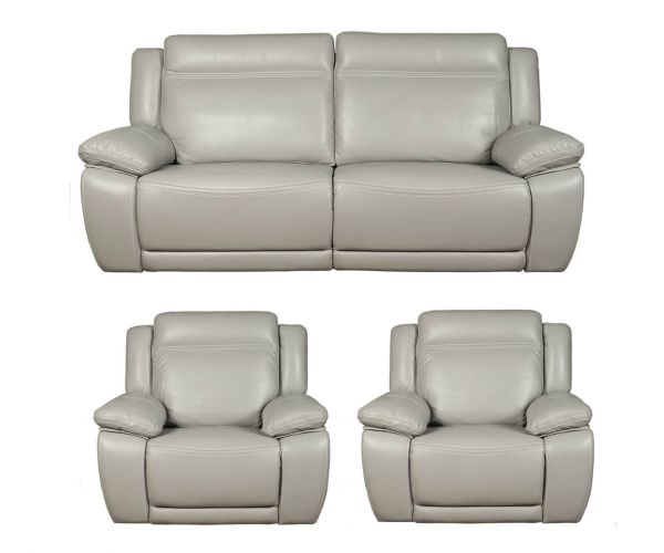 Annaghmore Cheshire Light Grey Leather 3+1+1 Sofa Suite