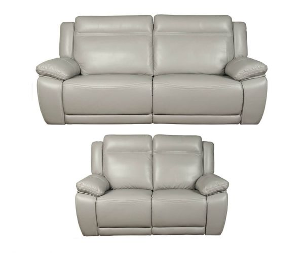 Annaghmore Cheshire Light Grey Leather 3+2 Sofa Suite