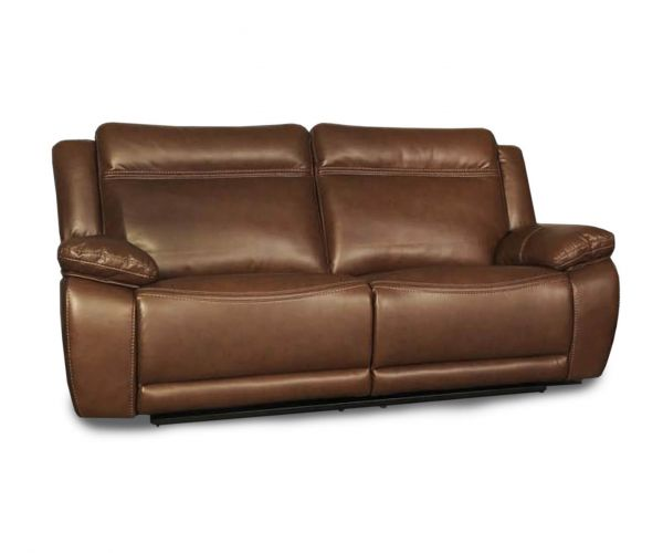 Annaghmore Cheshire Tan Leather Air Fabric Recliner 2 Seater Sofa